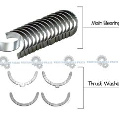 details about 94 06 toyota camry avalon sienna 3 0l 1mzfe main engine bearings washer set [ 1000 x 882 Pixel ]