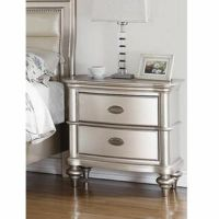 Antique Silver Glam Two Drawers Bedroom Nightstand | eBay