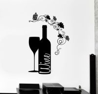 Vinyl Wall Decal Wine Bottle Glass Grape Alcohol Bar