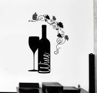 Vinyl Wall Decal Wine Bottle Glass Grape Alcohol Bar ...