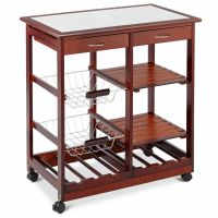 Portable 4-tier Rolling Wood Kitchen Trolley Cart w ...