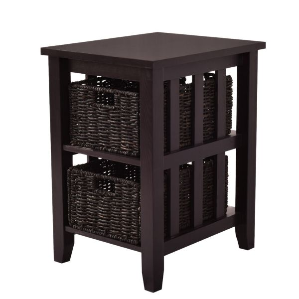 Side End Coffee Table Stand Wooden Storage 2 Baskets Furniture Espresso