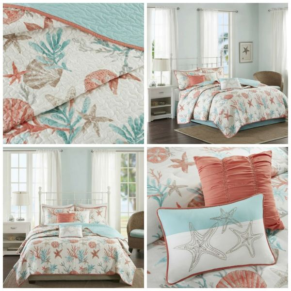 Full Queen Coral Blue Coastal Starfish Quilted Coverlet 6