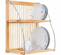 Wooden Plate Rack Stand Kitchen Shelf Wall Mounted Holder ...