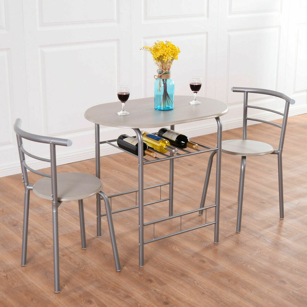 3 Piece Dining Set Table 2 Chairs Bistro Pub Home Kitchen