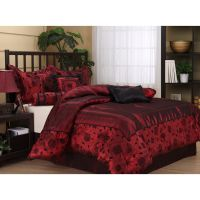 Queen Size 7 Piece Bedding Comforter Set Red Black Bed Set ...