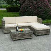 5 Pc Outdoor Patio Rattan Furniture Set Sectional