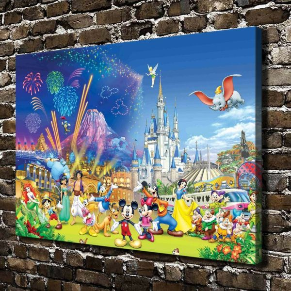 Hd Canvas Print Paintings Disney Castle Home Decor Wall
