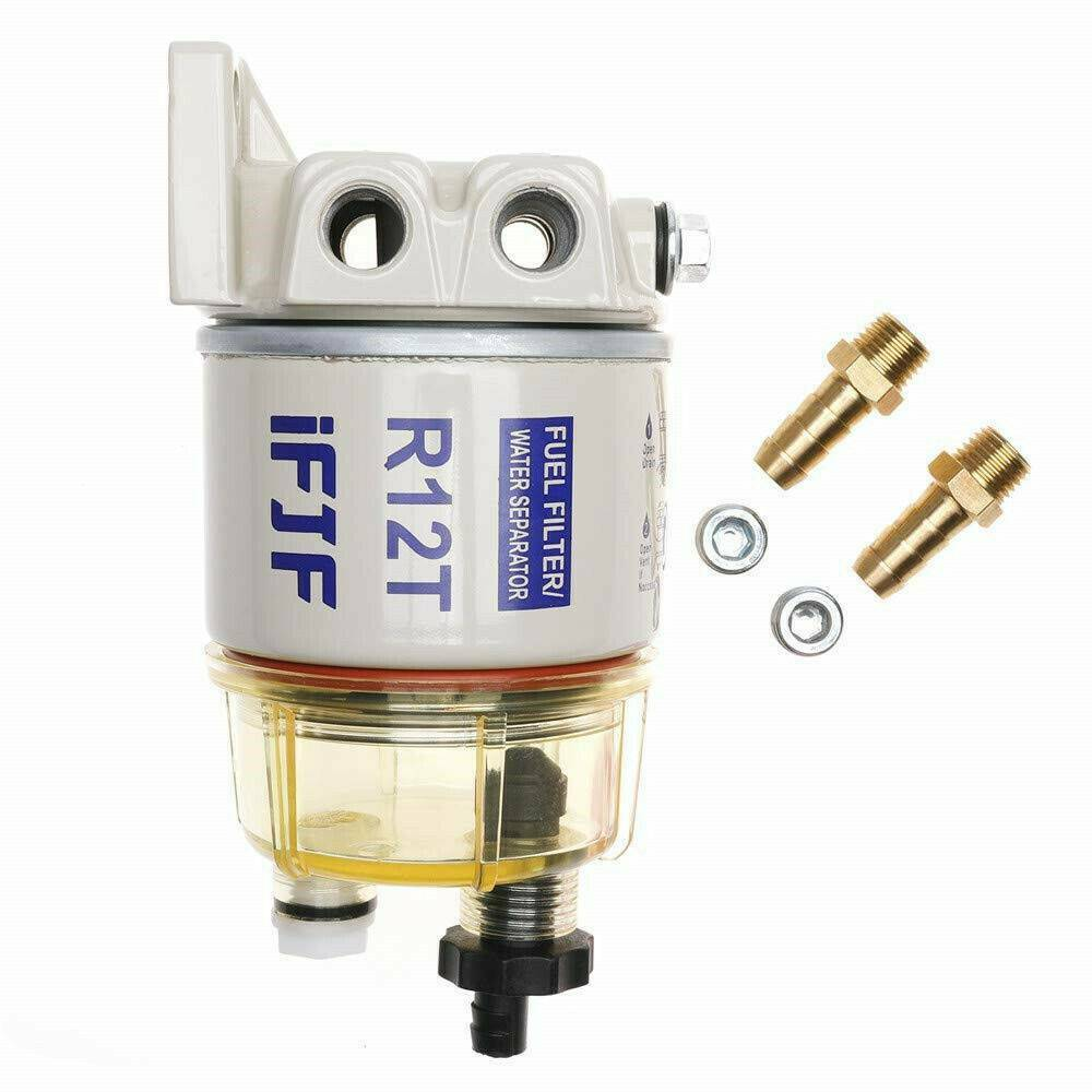 medium resolution of details about with fuel fittings marine spin on fuel filter water separator r12t for racor
