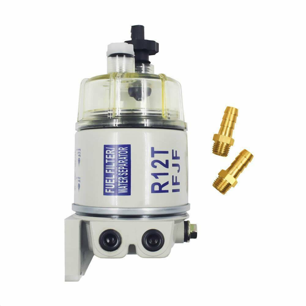 hight resolution of details about new with fittings marine spin on fuel filter water separator r12t for racor