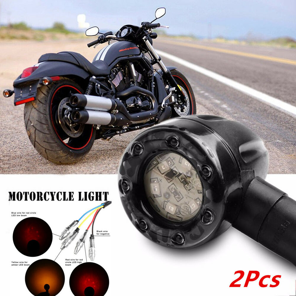 hight resolution of details about 2 colors led amber turn signal lights indicators rear brake lamp for motorcycle