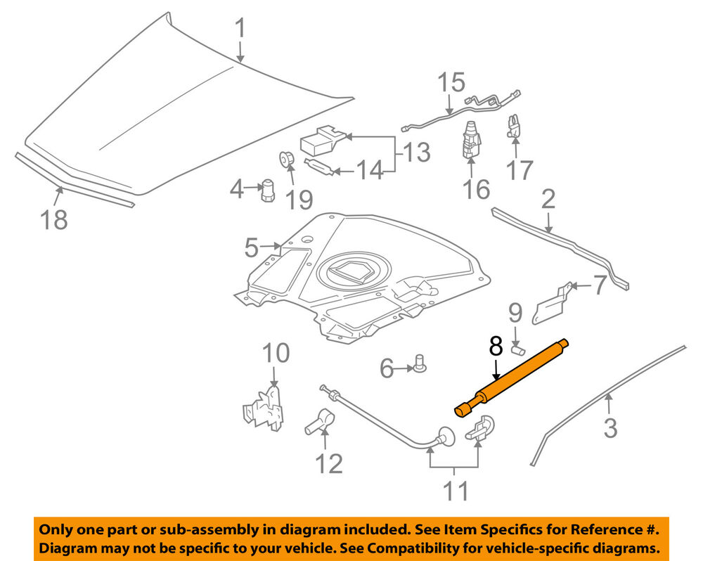hight resolution of details about cadillac gm oem 04 09 xlr hood lift support strut shock prop arm 10446862
