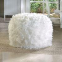 WHITE fuzzy furry bean bag seat bedroom dorm floor pillow ...