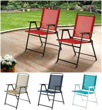 Set of 2 Patio Folding Sling Chairs Outdoor Furniture Deck ...