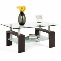 Rectangular Tempered Glass Coffee Table w/Shelf Wood ...