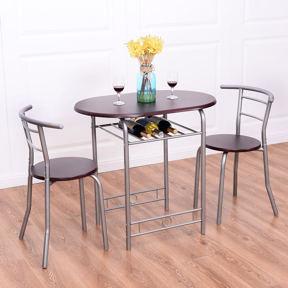 3 PCS Bistro Dining Set Table and 2 Chairs Kitchen Pub