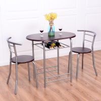 3 PCS Bistro Dining Set Table and 2 Chairs Kitchen Pub ...