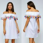 Long Sleeve Off Shoulder White Dress with Ruffle