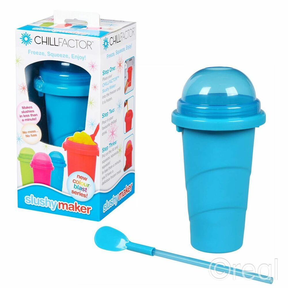 New Chill Factor Blue Slushy Maker Frozen Ice Drink