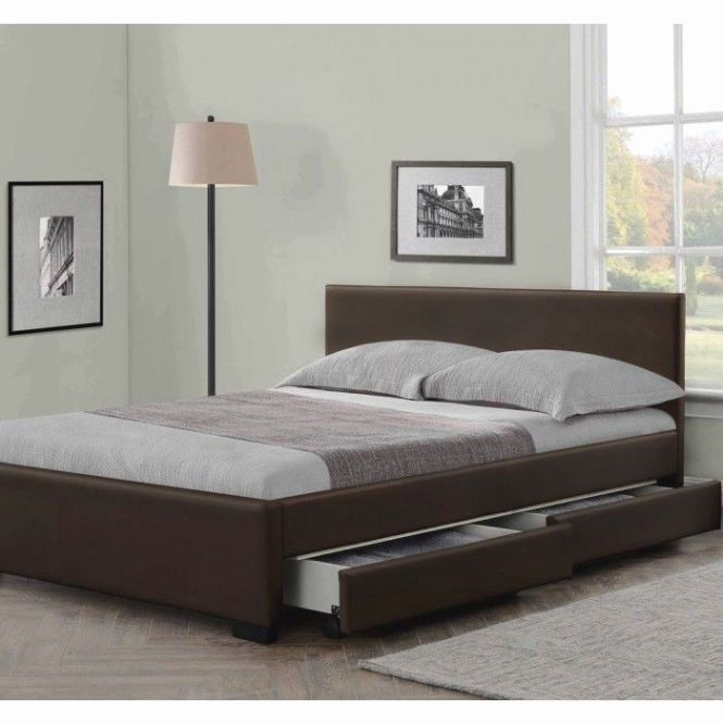 4 Drawers Leather Storage Bed Double Or King Size Beds Memory Mattress