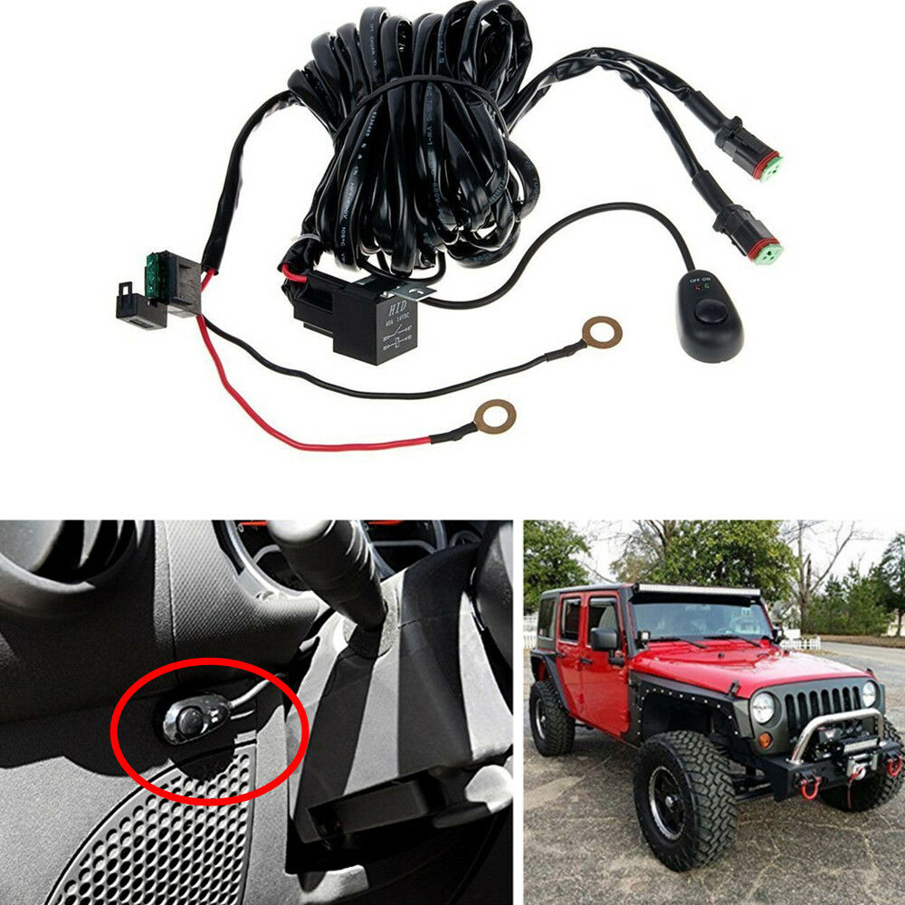 hight resolution of details about off road light bar wiring harness kit 12v 40a relay 2lead for driving fog led