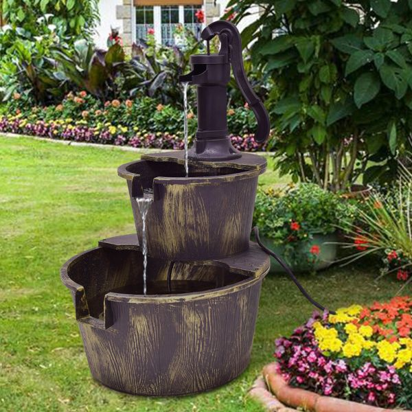 3 Tier Barrel Waterfall Fountain Water