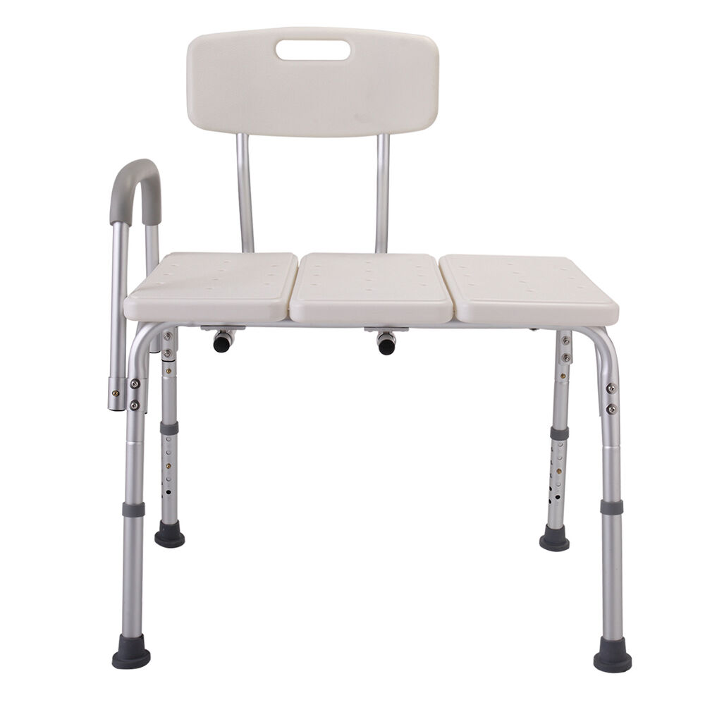 transfer shower chair ashley accent chairs wh adjustable10 height stool seat armrest medical bath details about tub bench