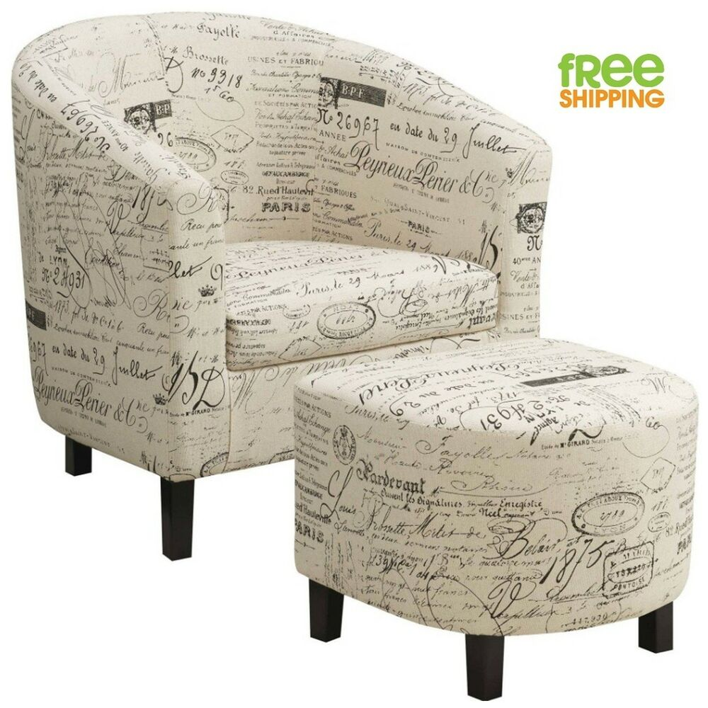 Chair And Ottoman Set Sturdy Accent Chair Ottoman Set Off White French Script High Quality Vintage New Ebay