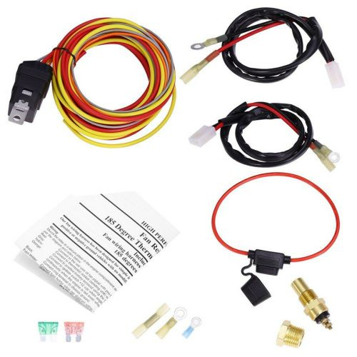 small resolution of details about 12v dual lead car cooling fan wiring harness kit thermostat 40a relay universal