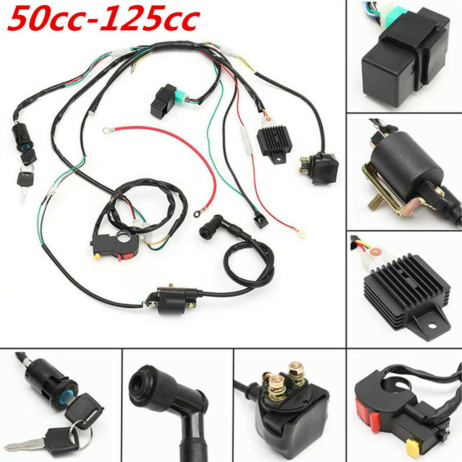 hight resolution of details about cdi wiring stator assembly electric ignition coil harness kit 50 125cc atv quad