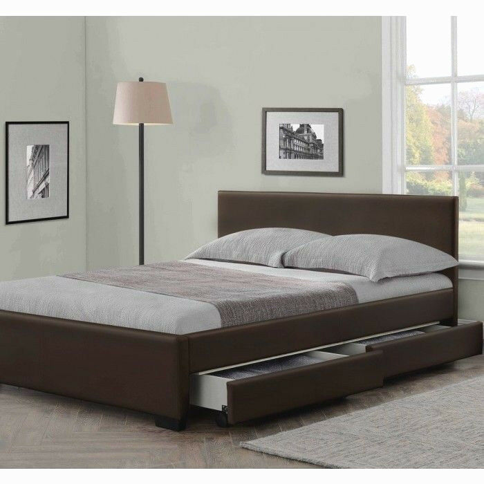 4 DRAWERS LEATHER STORAGE BED DOUBLE OR KING SIZE BEDS  MEMORY MATTRESS CHEAP  eBay