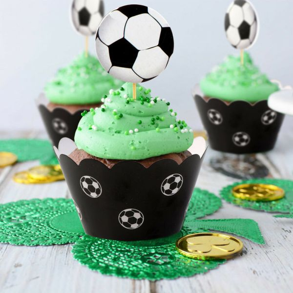 24pcs Set Soccer Cake Cupcake Toppers & Wrappers Baby Kids