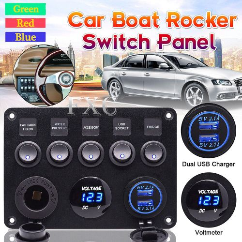 small resolution of details about 12v 24v inline fuse box led rocker switch panel 2 usb charger socket boat marine