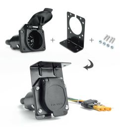 details about 4 way to 7 way round rv blade trailer wiring adapter connector plug with bracket [ 1000 x 1000 Pixel ]