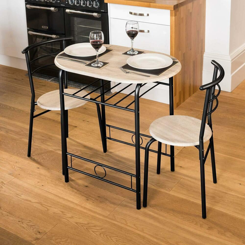Table With 2 Chairs Small Kitchen Table 2 Chairs Space Saver Dining Table Set Breakfast Bar Black Ebay