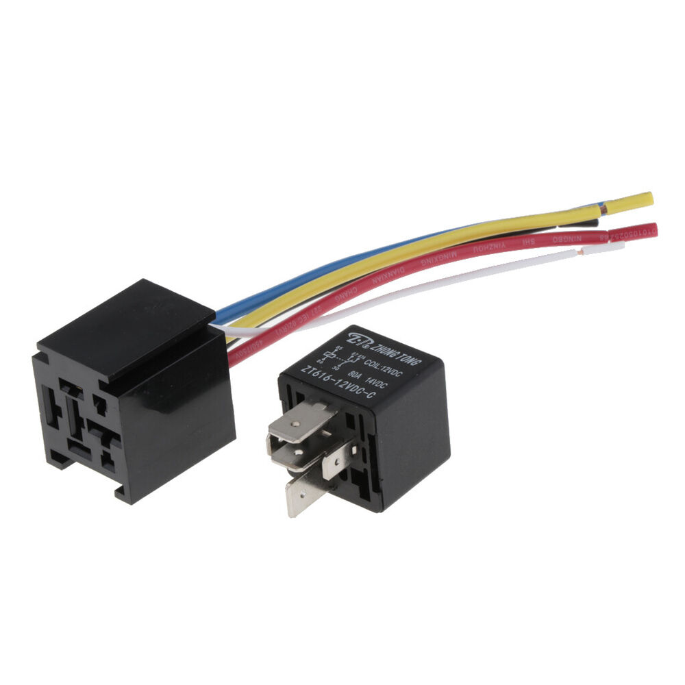 medium resolution of details about car 80a 5 pin wires relay socket harness connector with interlocking socket