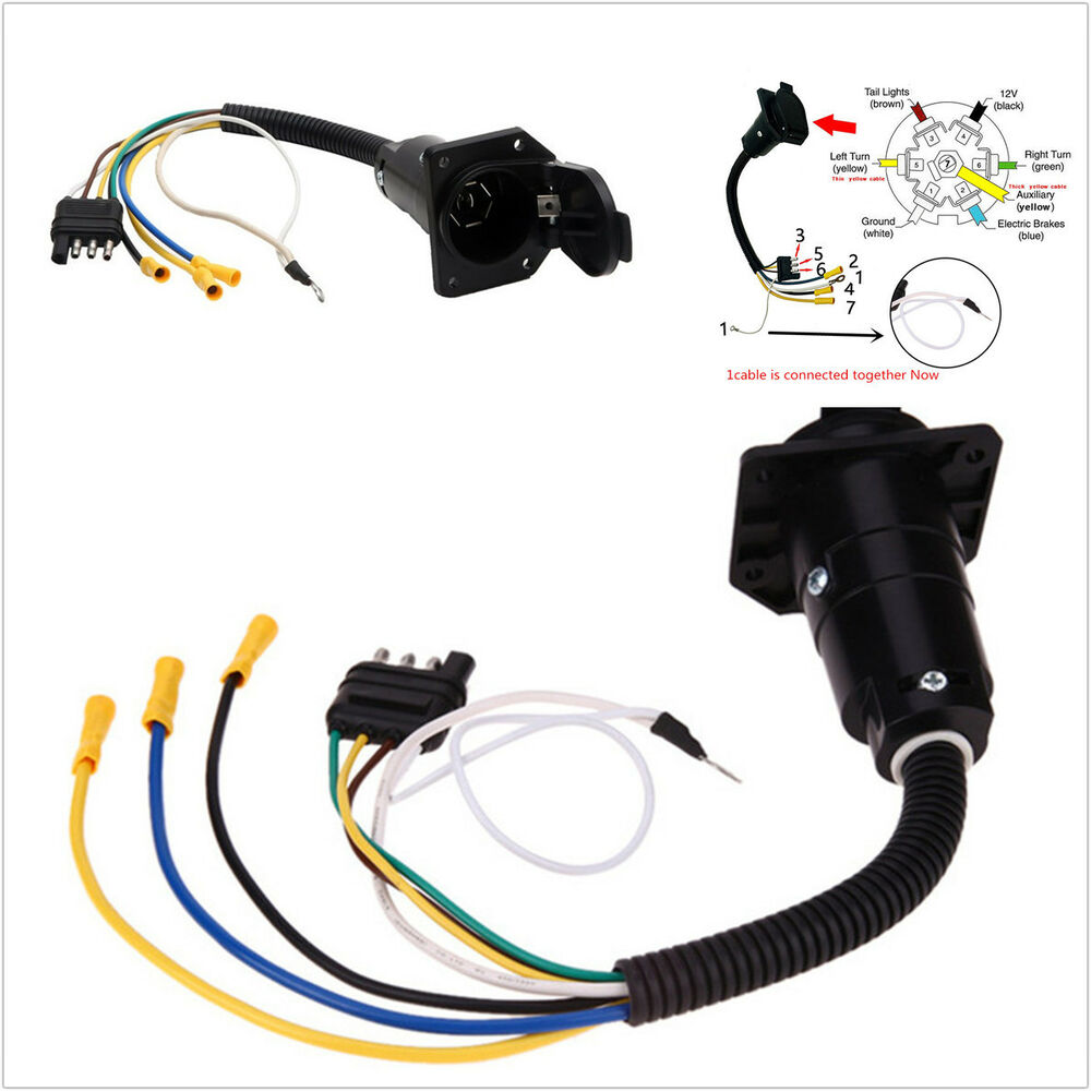 hight resolution of details about 1pcs 12v 4 pin flat to 7 pin round rv electrical trailer adapter plug with cable
