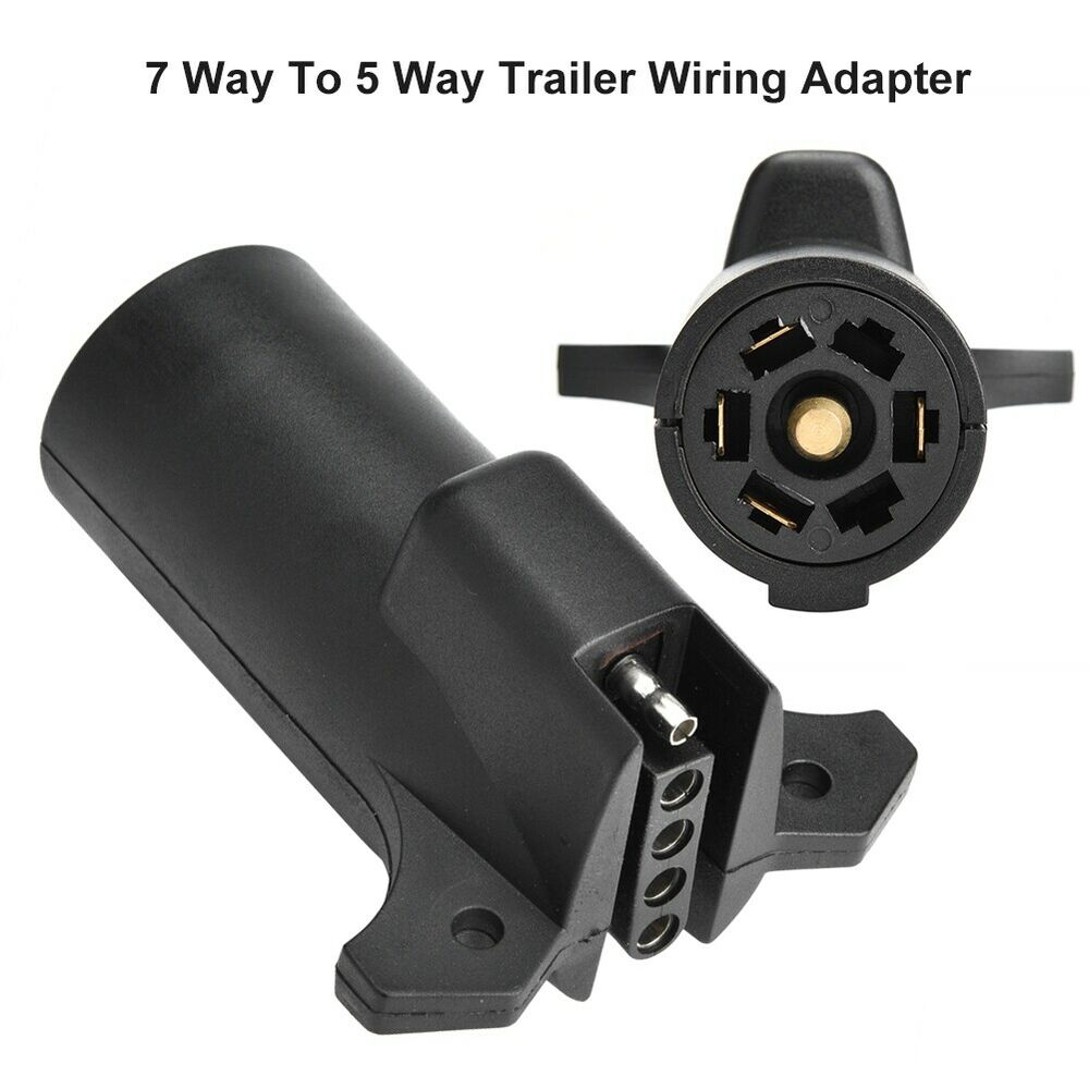 hight resolution of details about 7 pin rv blade to 5 pin flat trailer round wiring adapter light plug connector