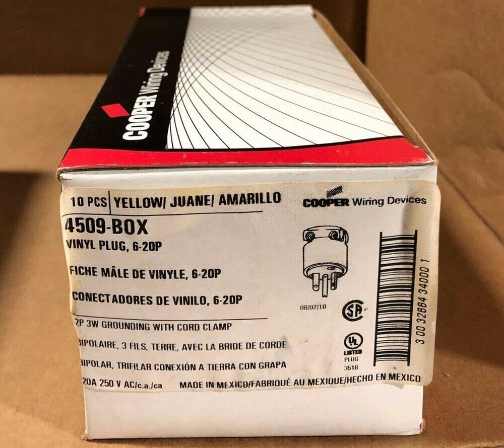 medium resolution of details about 10pack cooper wiring 4509box 2 pole 3 wire grounding plug 20a 250v yellow vinyl