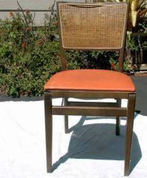 Stakmore Portable Wood Folding Chair Vinyl & Caning