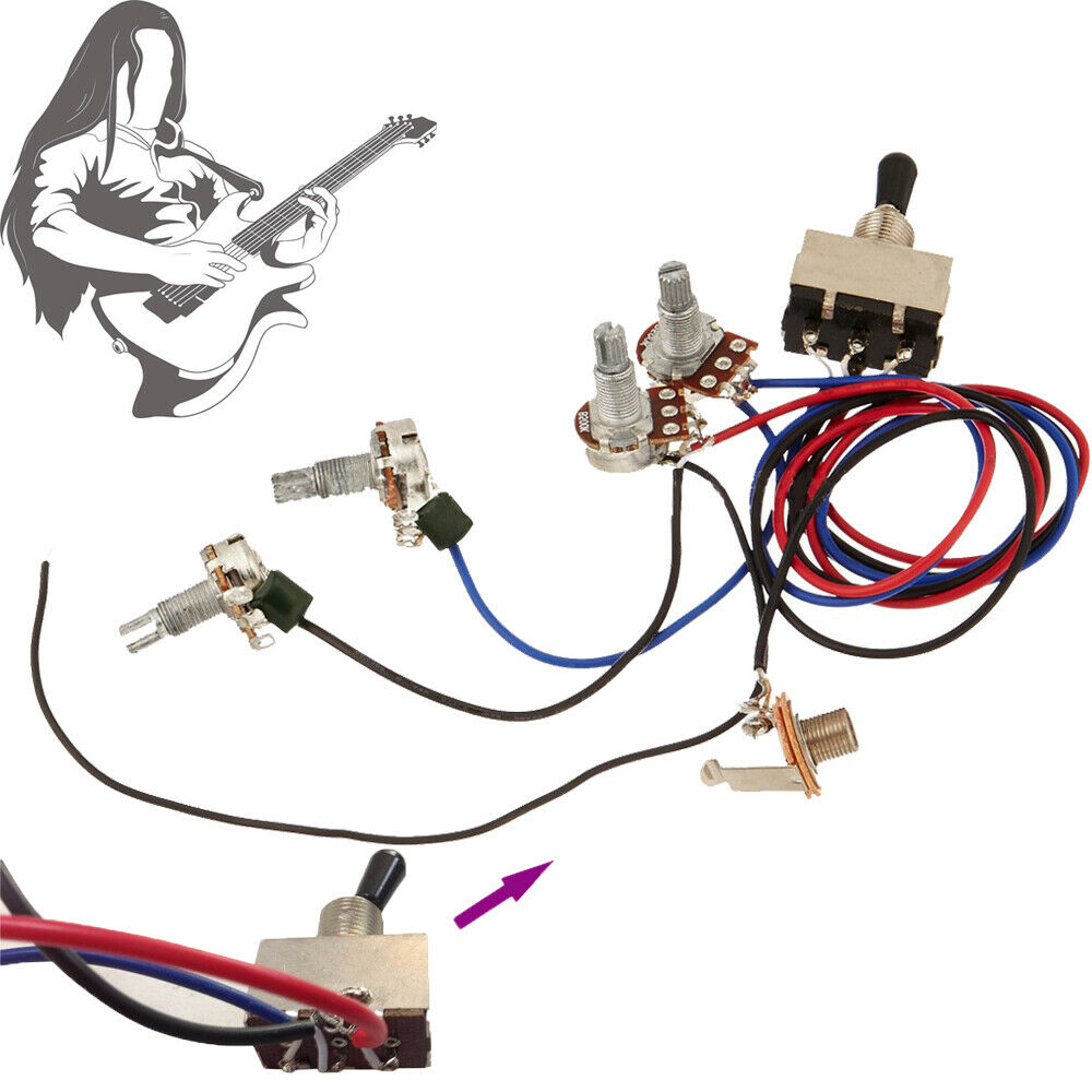hight resolution of details about guitar wiring harness kit device 2t 2h 3w toggle switch for gibson les paul lp