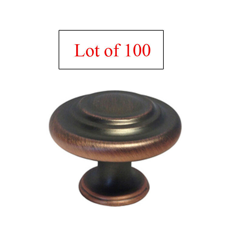 Lot of 100 Oil Rubbed Bronze Round Ring Kitchen Cabinet