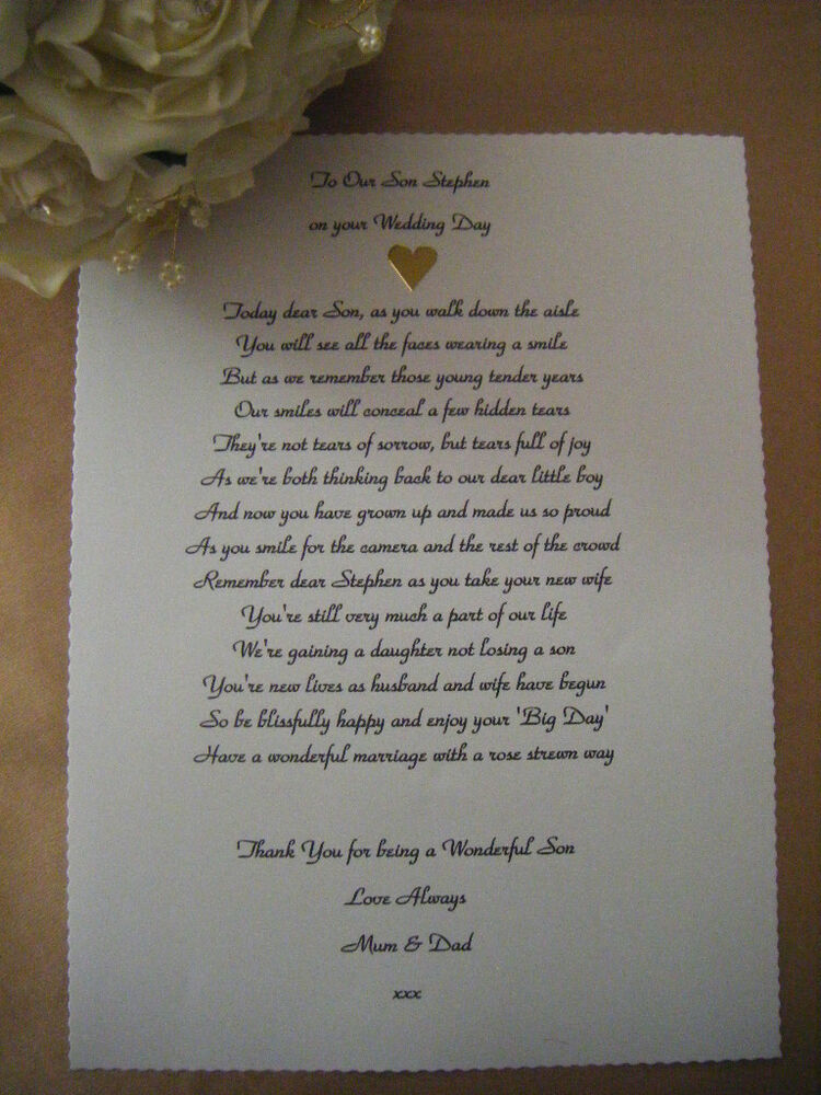 Personalised Wedding Poem Scroll  To Our Son on his Wedding Day RIBBON INCLUDED  eBay