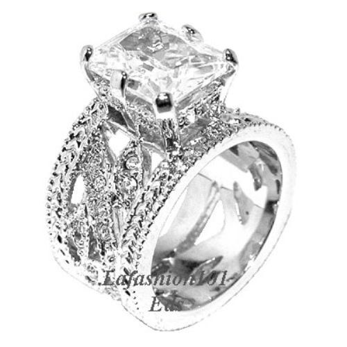 570ct Emerald cut heavy wide band engagement Ring SIZE 5678910  eBay