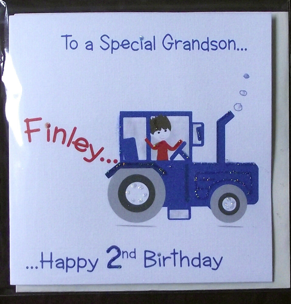 PERSONALISED HANDMADE TRACTOR BIRTHDAY CARD GRANDSON SON