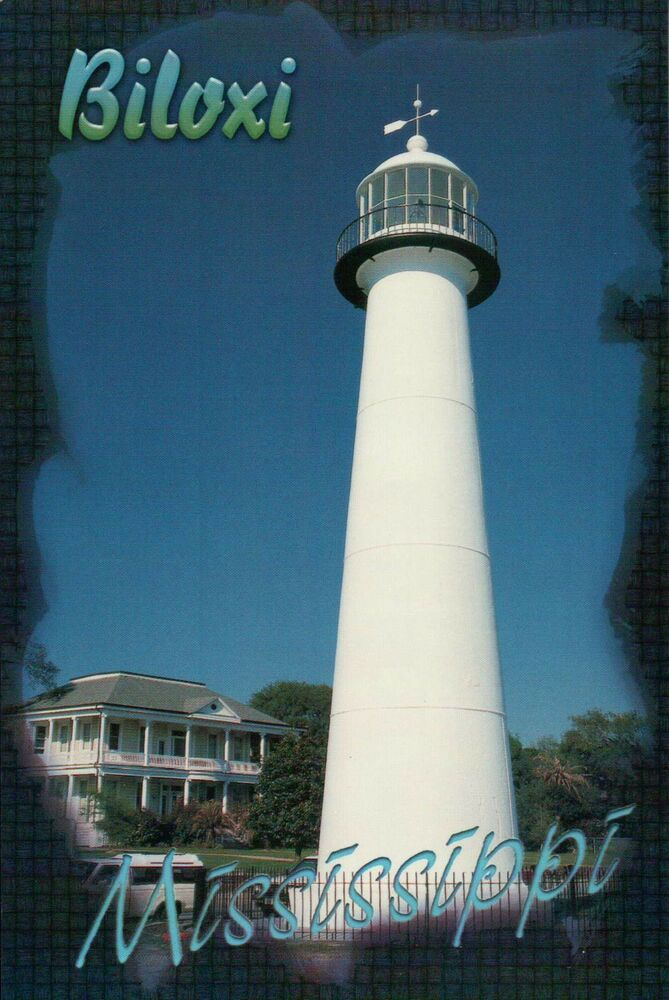 Historic Lighthouse Biloxi Mississippi MS Sound Gulf Of Mexico Postcard EBay