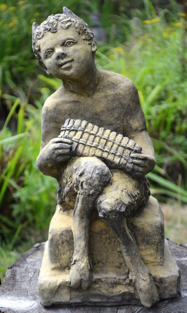 Pan Puck Faunus Statue stone garden ornament Pan playing his pipes 43cm17 H  eBay