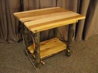 Amish Rustic Log End Table Solid Hickory Wood Furniture ...