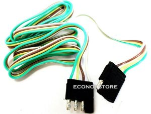 5 ft 4 WAY FLAT TRAILER LIGHT WIRE EXTENSION CORD PLUG