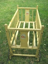 Antique Vintage C.1930 Wooden Doll Crib on Metal Wheels ...